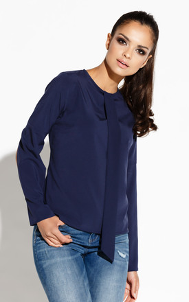 Navy Blue Long Sleeves Blouse With Chiffon Front Tie by Dursi