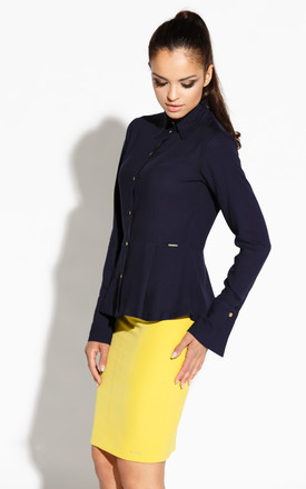 Navy Blue Shirt With Golden Buttons by Dursi