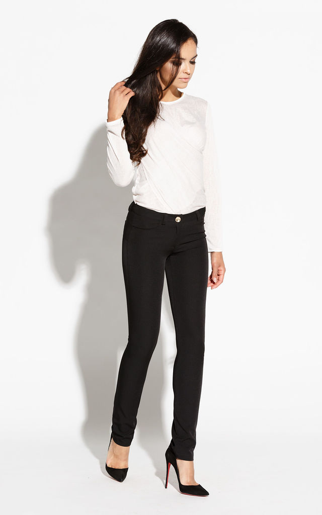 Black Stretch Pants With Pockets by Dursi
