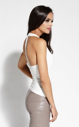 White Sexy Blouse With Open Back by Dursi