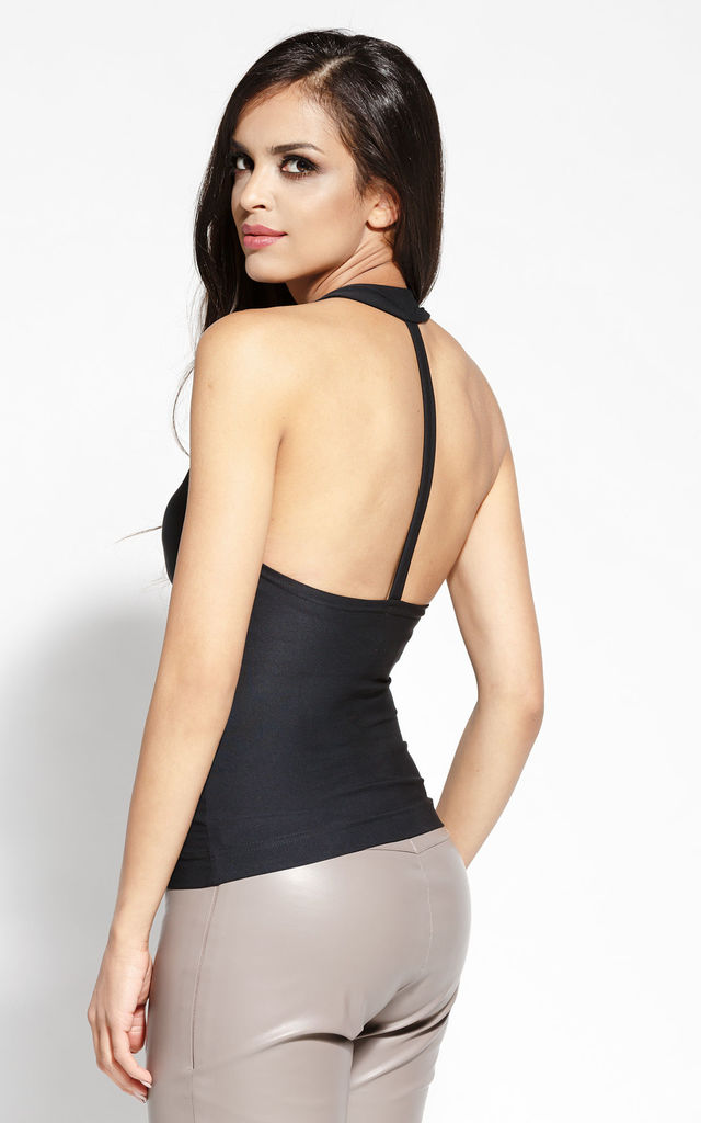 Black Sexy Blouse With Open Back by Dursi