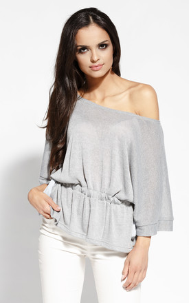 Light Grey Kimono Blouse With Open Shoulder by Dursi