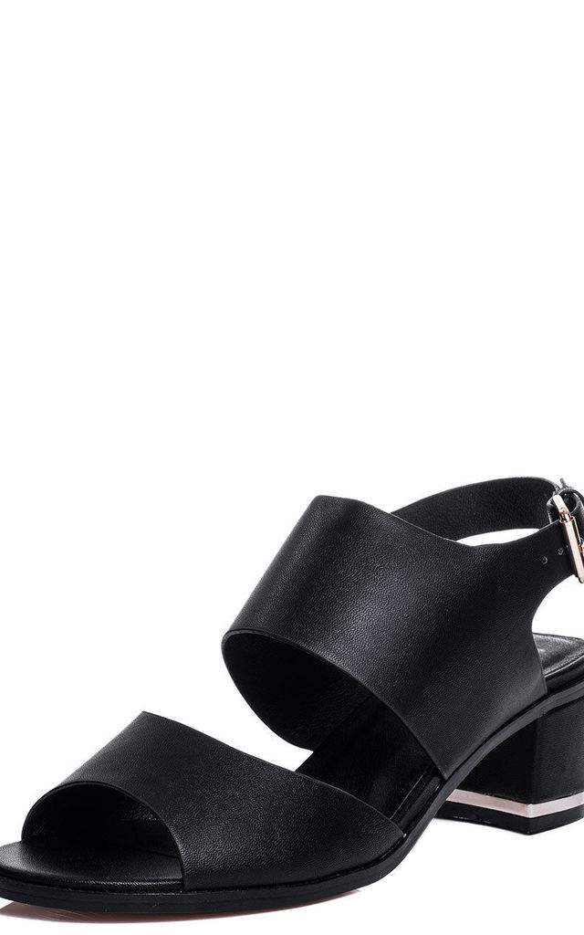 OLIVIA Wide Fit Mid Heel Sandals Shoes - Black Leather Style by SpyLoveBuy