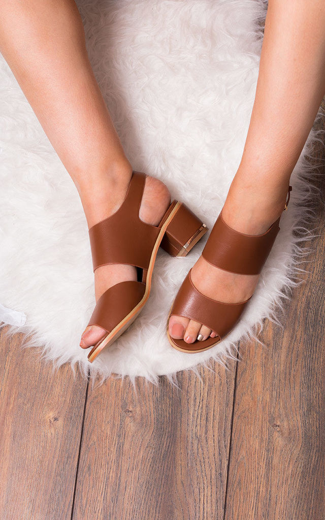 OLIVIA Wide Fit Mid Heel Sandals Shoes - Tan Leather Style by SpyLoveBuy