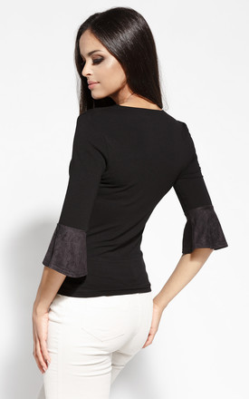 Black Blouse With Flared 3/4 Sleeves by Dursi