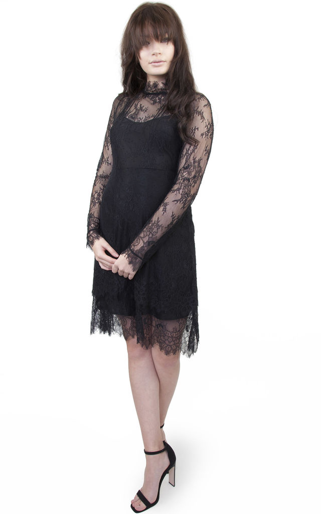 Patty eyelash lace high neck dress by Wolf & Whistle