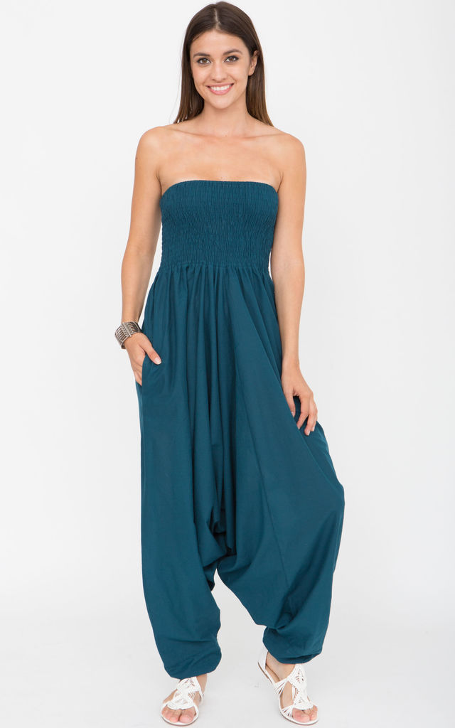 2 In 1 Cotton Maxi Harem Trouser Jumpsuit Teal by likemary