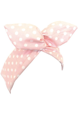 Baby Pink And White Polka Dot Print Wired Headband by LULU IN THE SKY