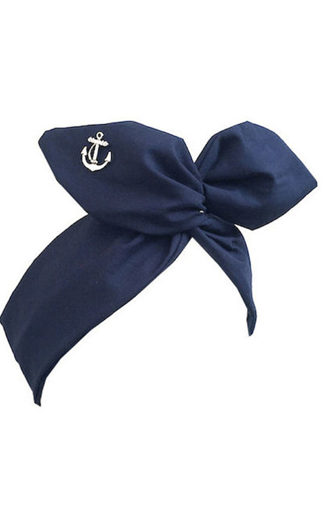 Navy Blue with Silver Anchor Wired Headband by LULU IN THE SKY