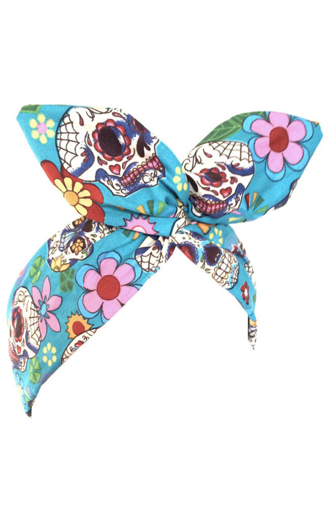 Blue Sugar Skull and Flower Wired Headband by LULU IN THE SKY