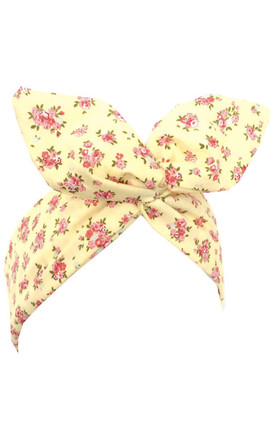 Yellow Pink Floral wire Headband by LULU IN THE SKY