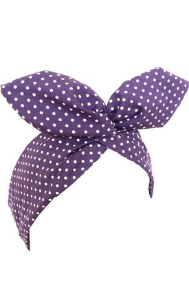 Purple with White Polka Dot Wired Headband by LULU IN THE SKY