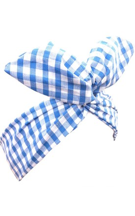 Blue and White Gingham Wire Headband by LULU IN THE SKY