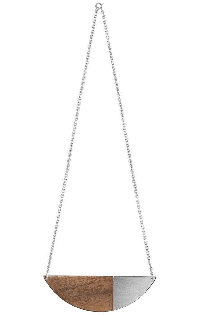 Alexandra Necklace Walnut & Brushed Steel by Form London