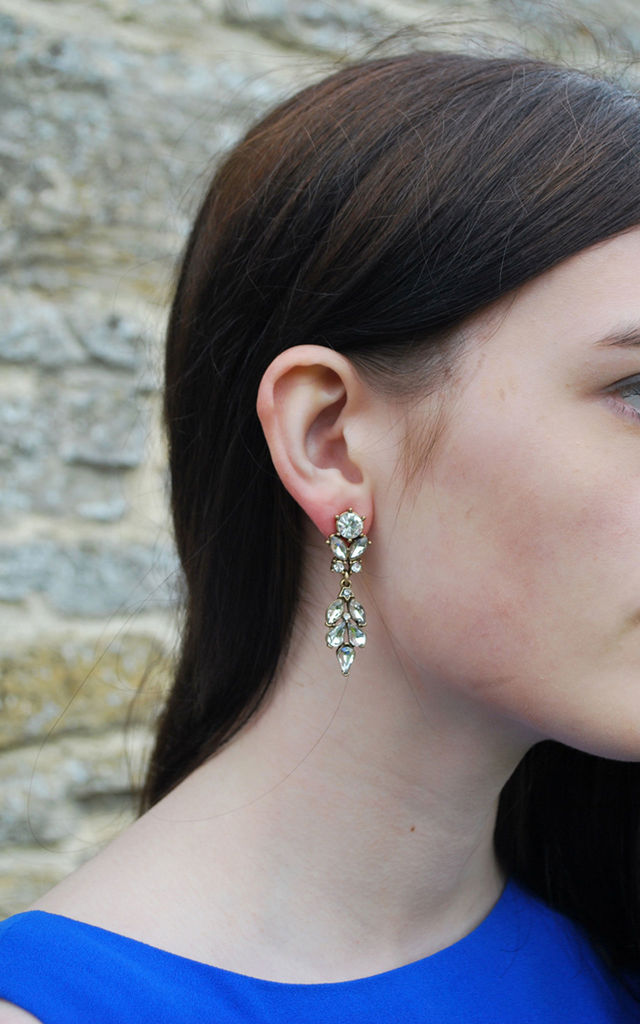 Drop Crystal Earring in Antique Gold by LAST TRUE ANGEL