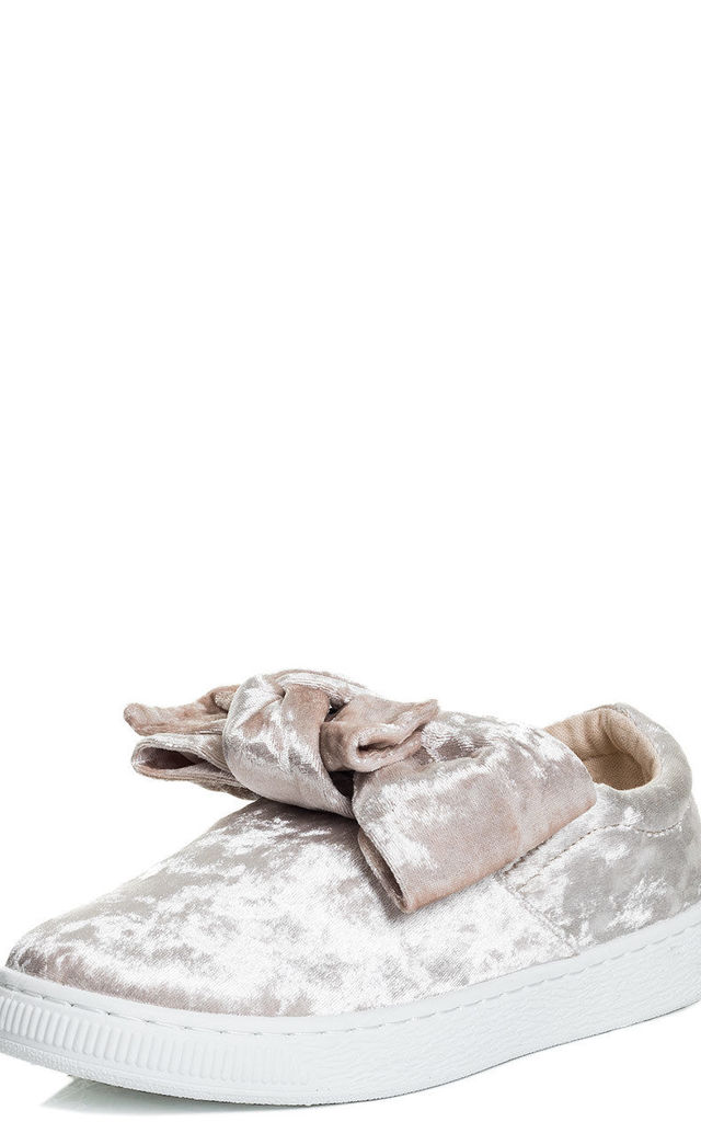 GEORGIE Flower Flat Trainers Shoes - Beige Velvet Style by SpyLoveBuy