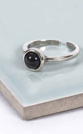 Sterling Silver Black Moon Midi Ring by Collections by Hayley