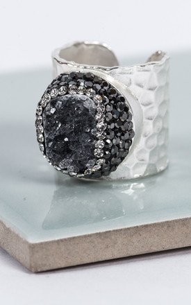 Silver Agate Quartz Crystal Statement Ring by Collections by Hayley