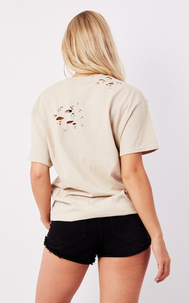 DISTRESSED BOYFRIEND TEE- NUDE by Cats got the Cream