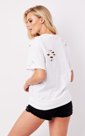 DISTRESSED BOYFRIEND TEE- WHITE by Cats got the Cream
