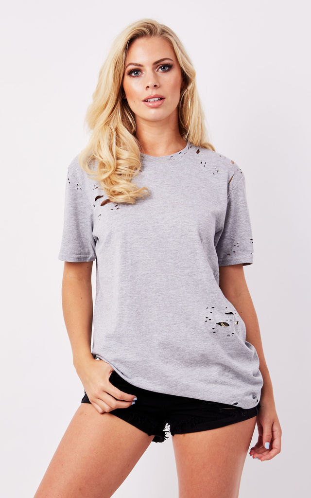 DISTRESSED BOYFRIEND TEE- GREY by Cats got the Cream