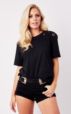 DISTRESSED BOYFRIEND TEE- BLACK by Cats got the Cream