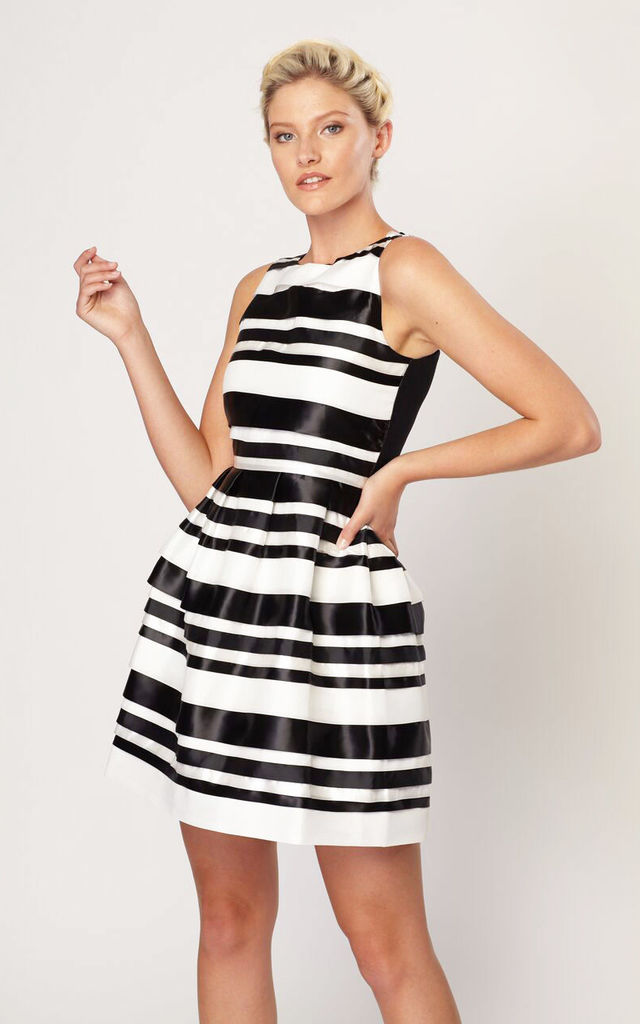Striped Black & White Ribbon Dress by Zibi London