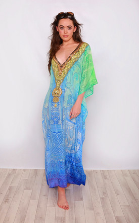 Giselle Print Maxi Kaftan With Long Sleeves by Kitten Beachwear Product photo
