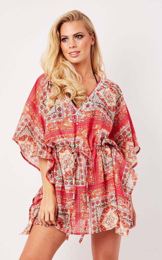 Sardinia Kaftan in Pink Print by Kitten Beachwear
