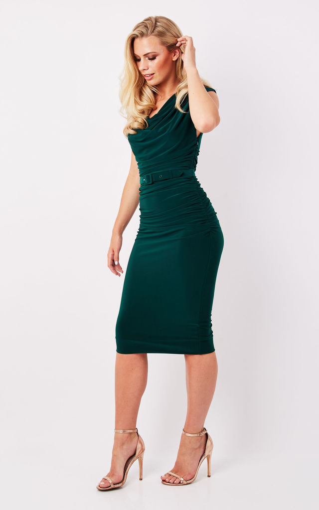 Green Ruched Midi Dress by Zoe Vine