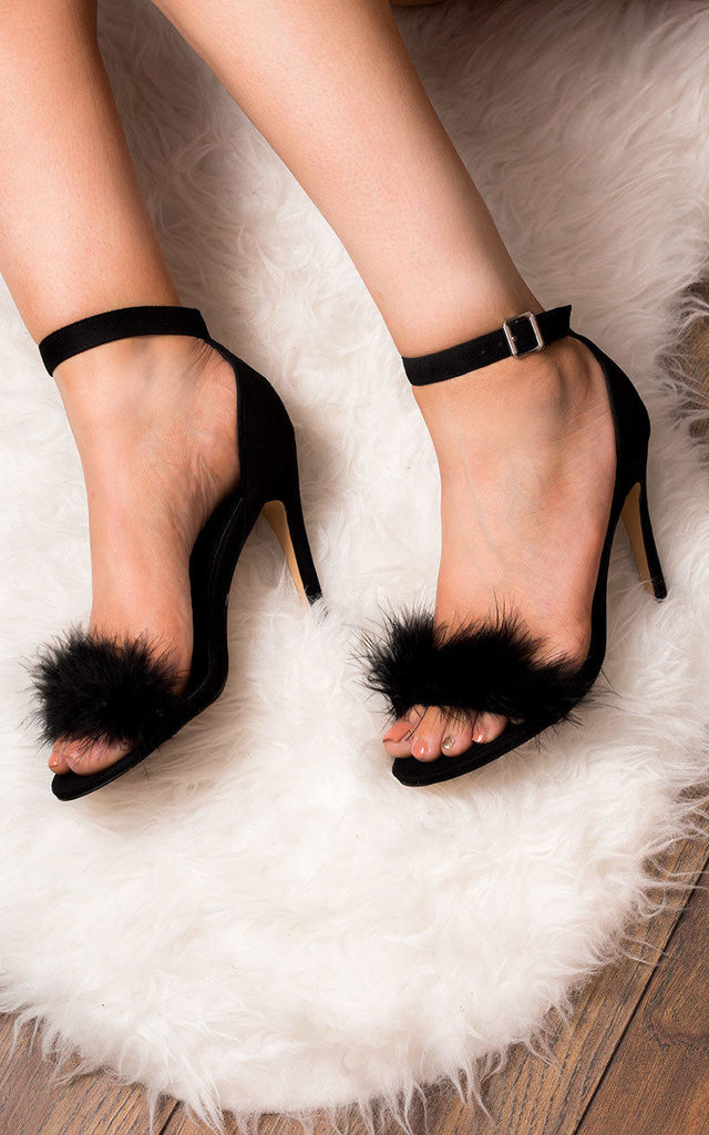 LUCY Adjustable Buckle High Heel Party Shoes - Black Suede Style by SpyLoveBuy