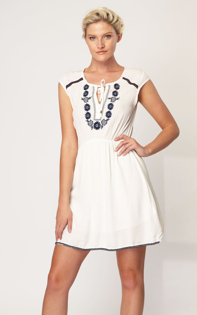 Keyhole Neck Embroidered Dress - White by Zibi London