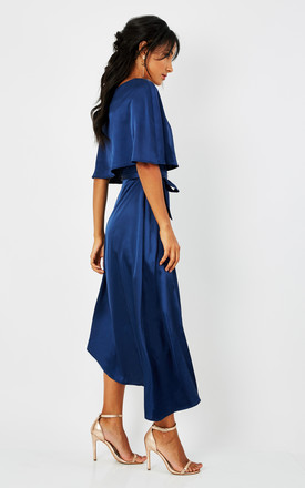 Navy Asymmetric Overlay Dress by Luna