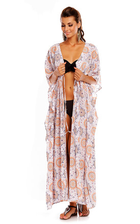 Kimono Summer Beach Cover Up Maxi Kaftan in White by Looking Glam