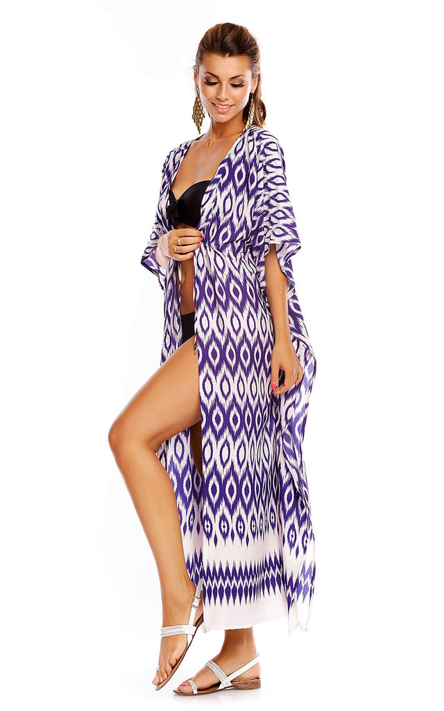Kimono Summer Beach Cover Up Maxi Kaftan in Purple by Looking Glam
