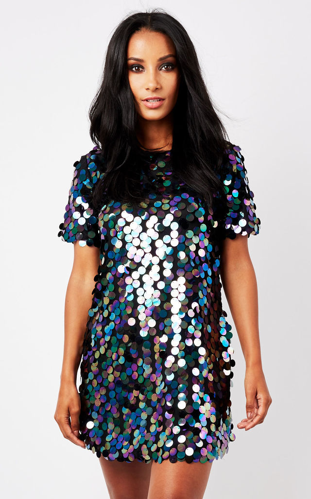 1c1ea571ce30 Black Disk Sequin T Shirt Dress | Phoenix + Feather | SilkFred