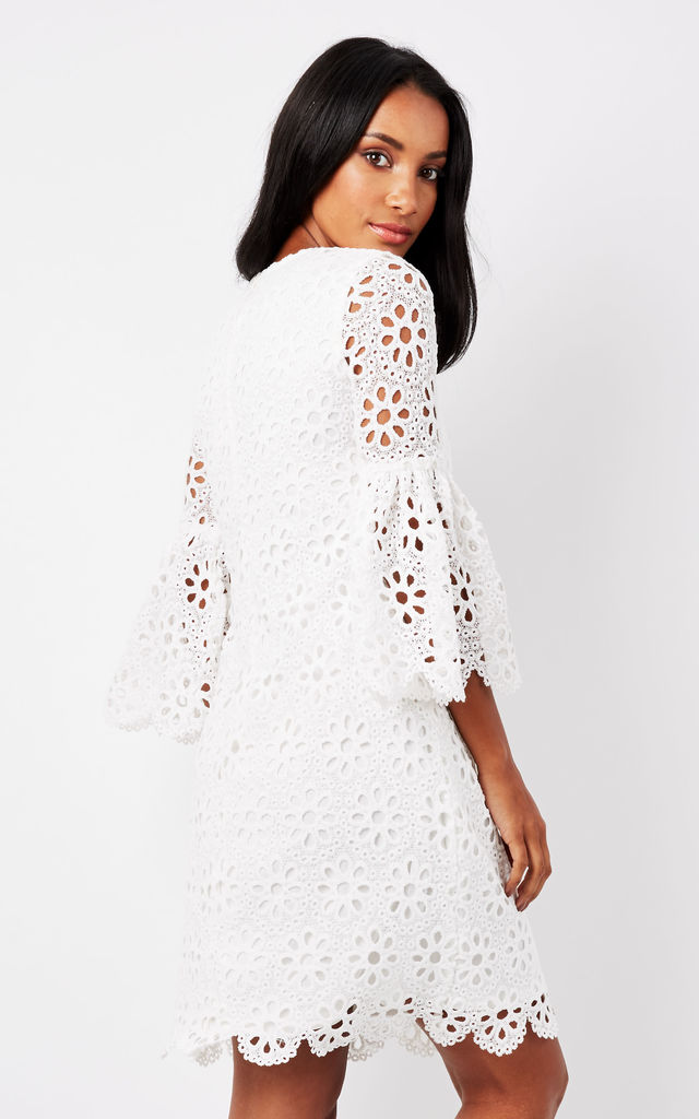 White Crochet Fluted Sleeve Dress by Luna