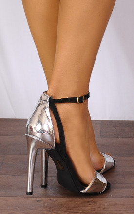 Black and Silver Metallic Barely There Strappy Sandals High Heels by Shoe Closet