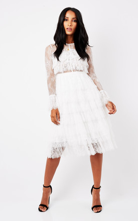 White Ruffle Lace Armed Dress by True Decadence