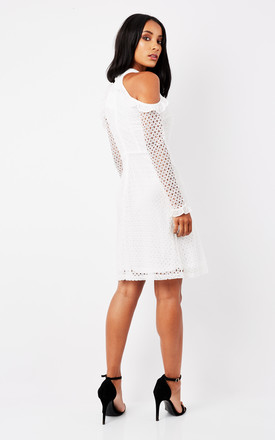 White Cold Shoulder Long Sleeved Dress by True Decadence