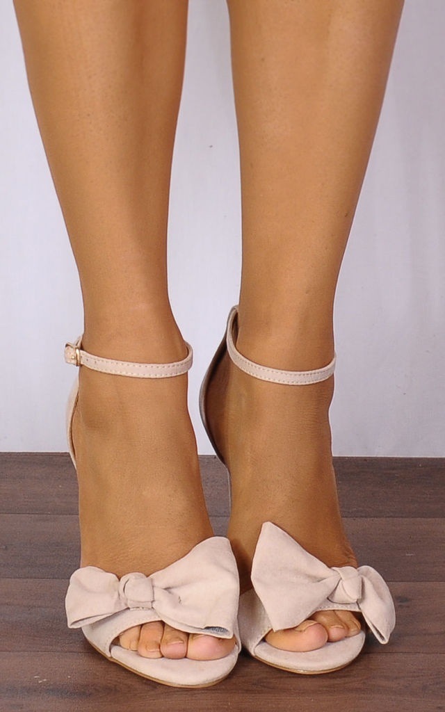 Nude Bows Barely There Strappy Sandals High Heels by Shoe Closet