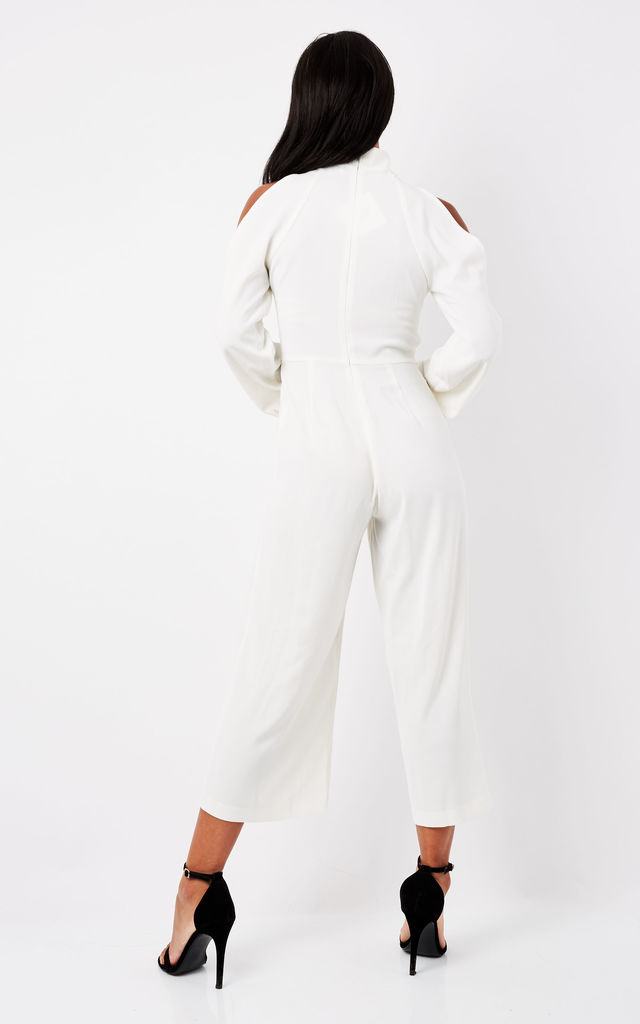 c5134bd2438 White Cold Shoulder Long Sleeved Jumpsuit by True Decadence