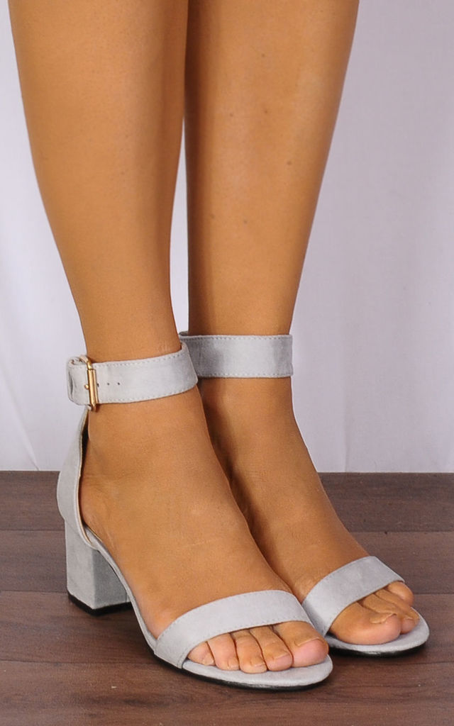 Light Grey Barely There Low Heeled Peep Toes Strappy Sandals by Shoe Closet