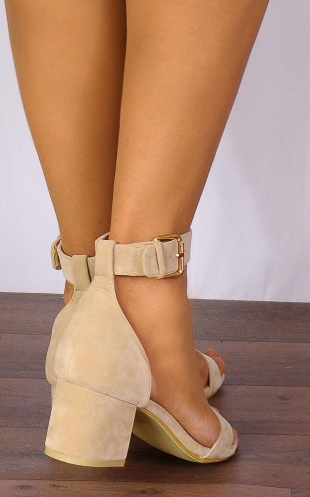 Nude Barely There Low Heeled Peep Toes Strappy Sandals by Shoe Closet