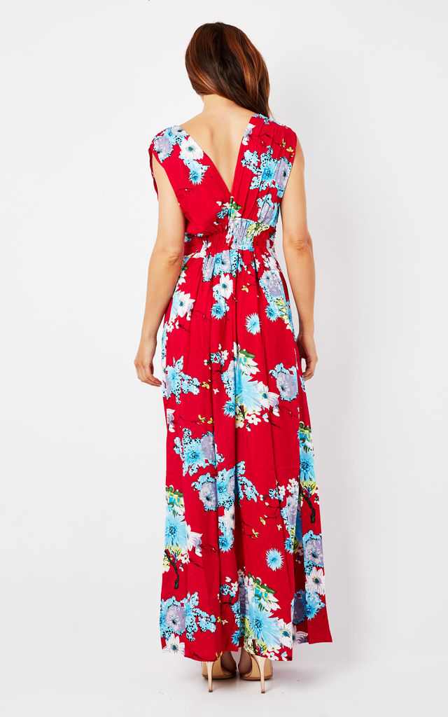 Red Floral Maxi Summer Dress by Ruby Rocks