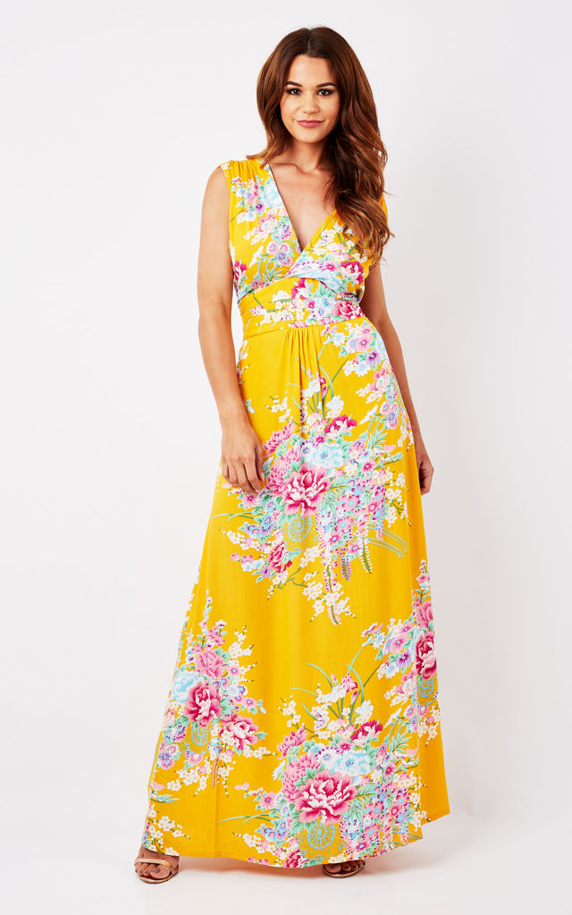 Yellow Floral Maxi Summer Dress by Ruby Rocks