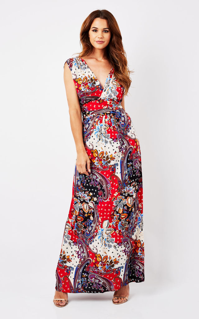 Boho Paisley Red Maxi Summer Dress by Ruby Rocks