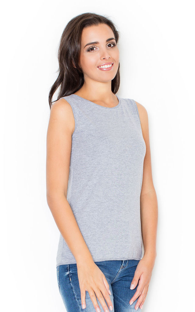 Grey Classic Sleeveless Top by KATRUS