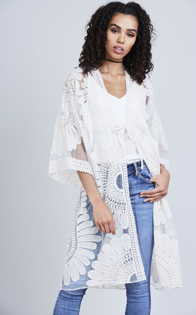 Cream Sheer Embroidered Kimono by London End
