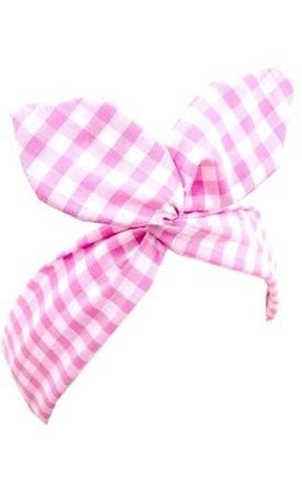 Pink And White Gingham Wired Headband by LULU IN THE SKY
